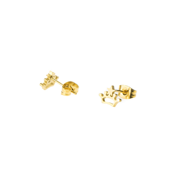 Beautiful Charming Princess Crown Solid Gold Stud Earrings By Jewelry Lane