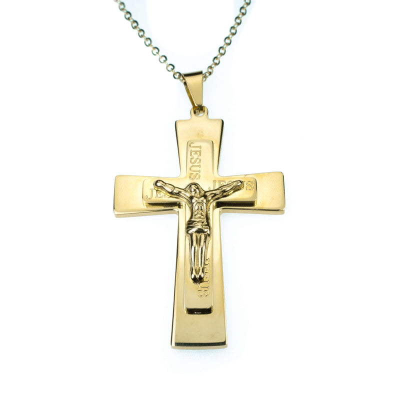 Simple Religious Jesus Cross Solid Gold Pendant By Jewelry Lane