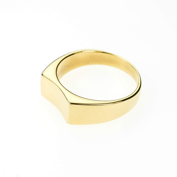 Simple Plain Polished Curved Statement Solid Gold Ring By Jewelry Lane