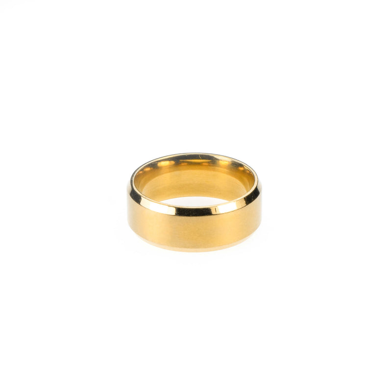 Simple Polished Beveled D-Shape Solid Gold Band Ring For Jewelry Lane