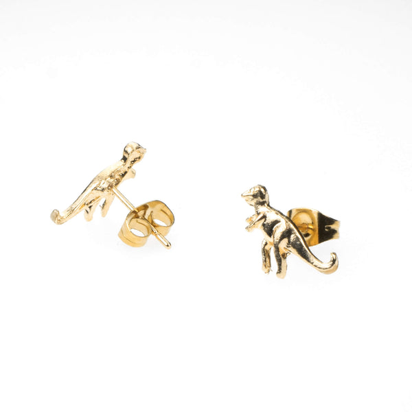 Beautiful Unique Dinosaur Stud Solid Gold Earrings By Jewelry Lane