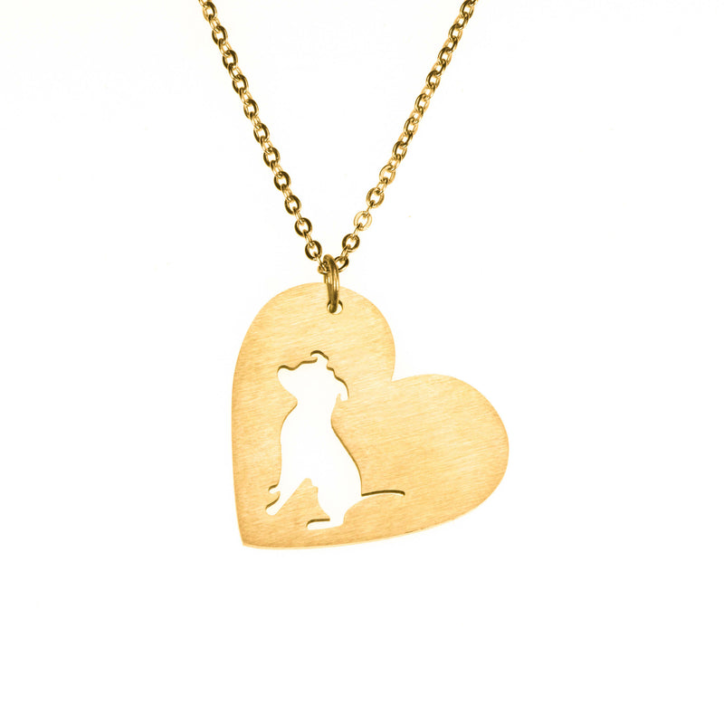 Beautiful Modern Dog Heart Love Solid Gold Pendant By Jewelry Lane