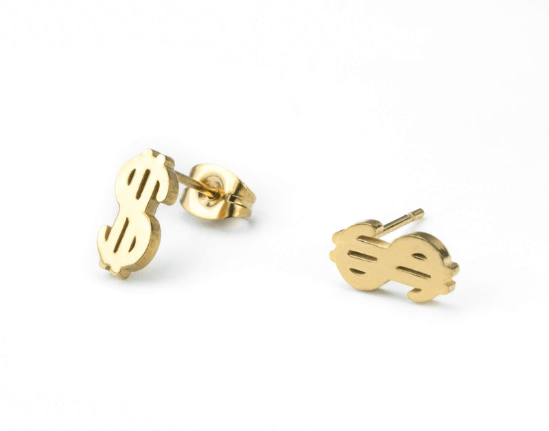 Beautiful Unique Dollar Sign Solid Gold Stud Earrings By Jewelry Lane