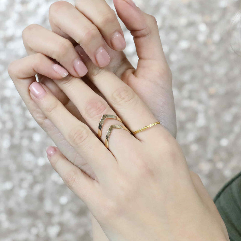 Model Wearing Classic Elegance Double Chevron Cuff Solid Gold Ring By Jewelry Lane