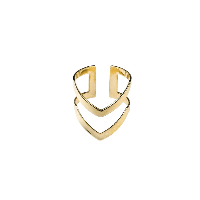 Classic Elegance Double Chevron Cuff Gold Vermeil Ring By Jewelry Lane
