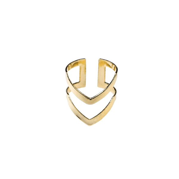 Classic Elegance Double Chevron Cuff Solid Gold Ring By Jewelry Lane