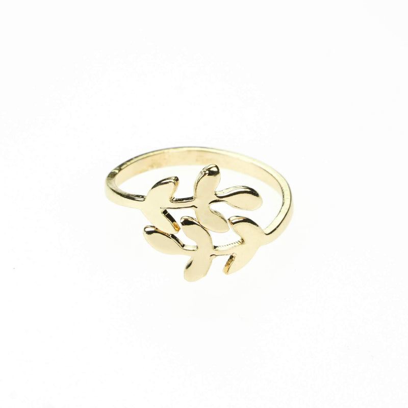 Beautiful Olive Leaf Gold Vermeil Ring By Jewelry Lane