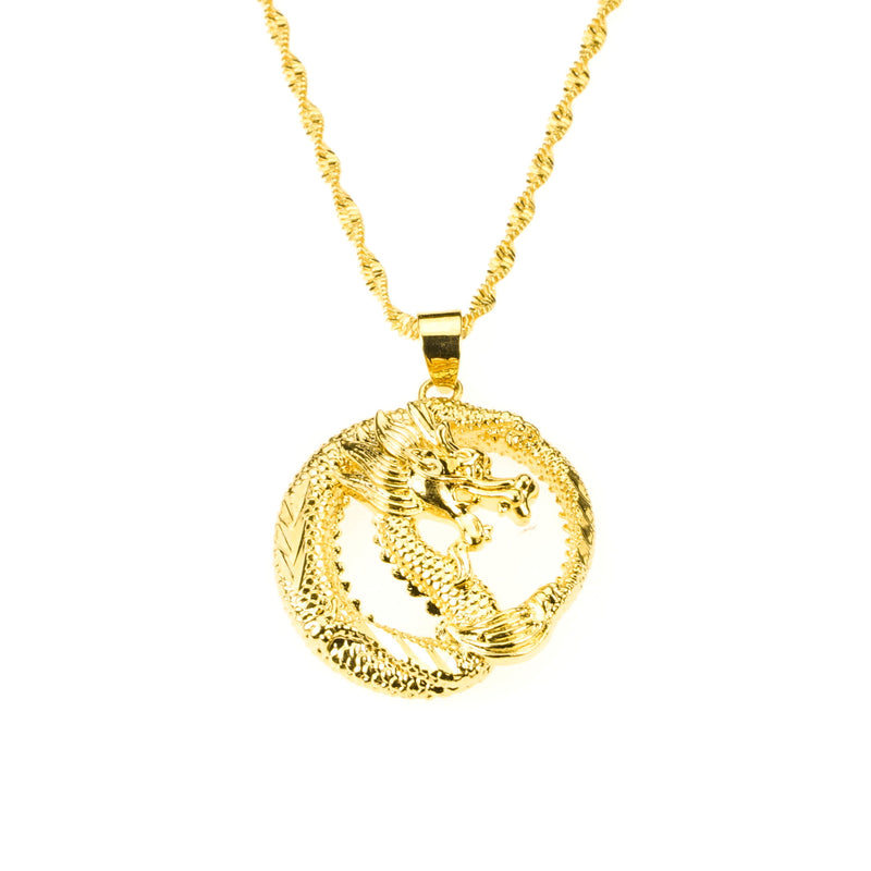 Beautiful Unique Round Dragon Style Solid Gold Pendant By Jewelry Lane