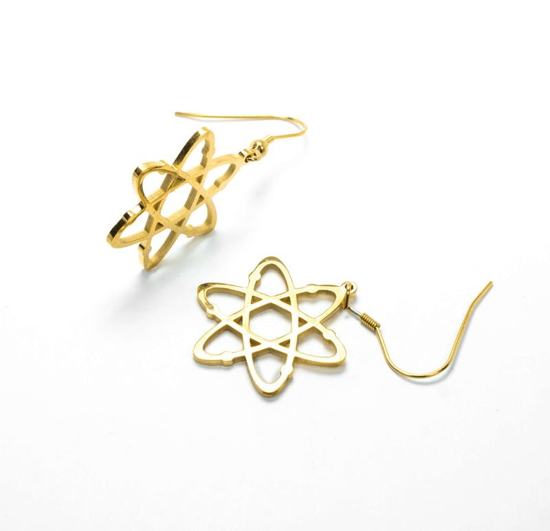 Beautiful Solid Gold Atomic Earrings by Jewelry Lane