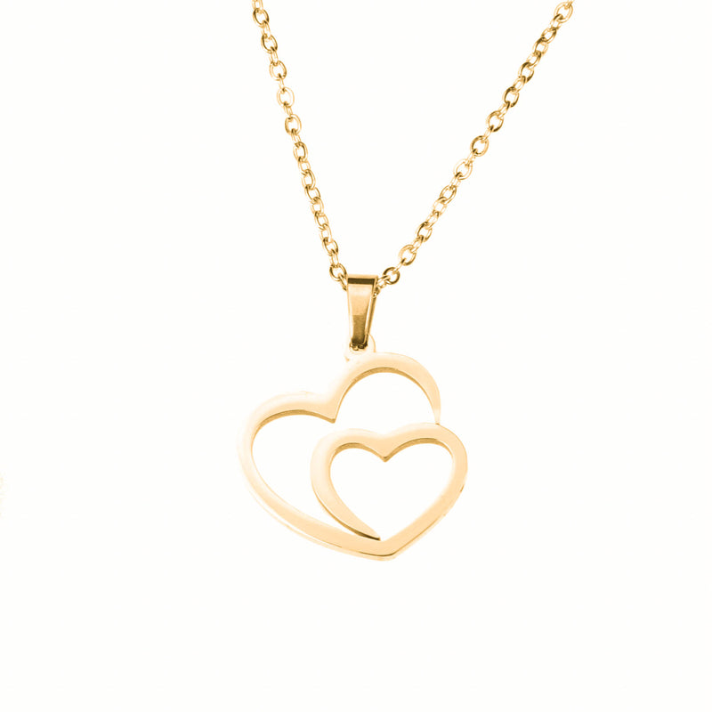 Beautiful Modern Dual Heart Love Solid Gold Pendant By Jewelry Lane