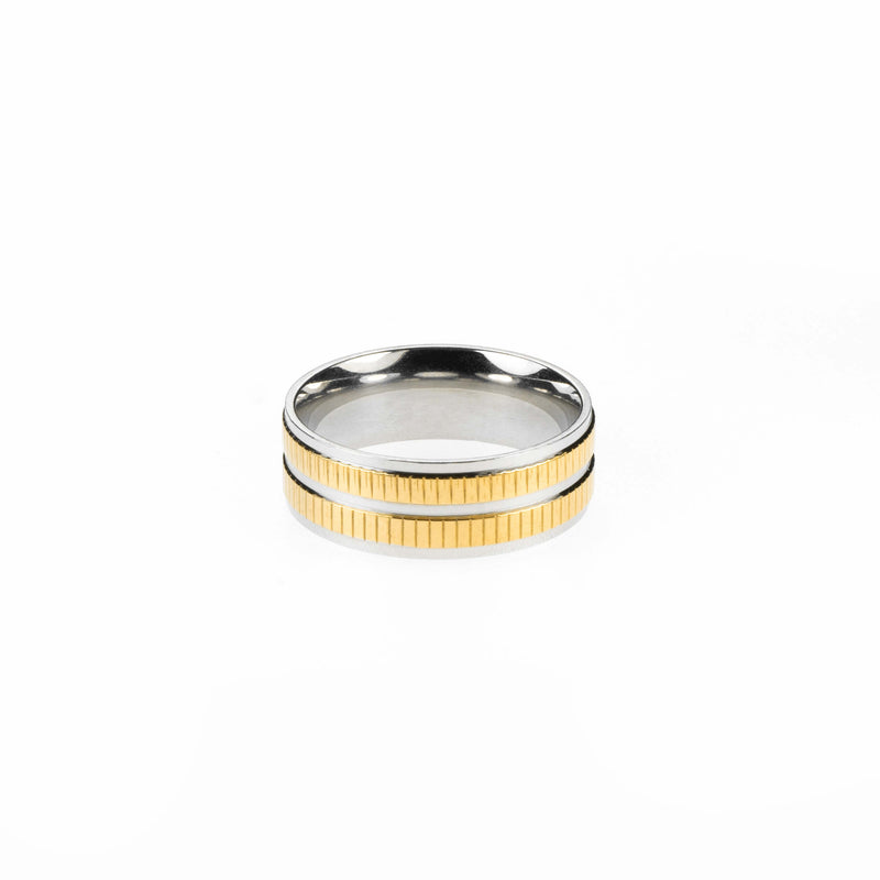 Elegant Classic Dual Tone Solid Gold Band Ring By Jewelry Lane