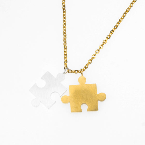 Beautiful Modern Two Tone Puzzle Design Solid Gold Necklace By Jewelry Lane