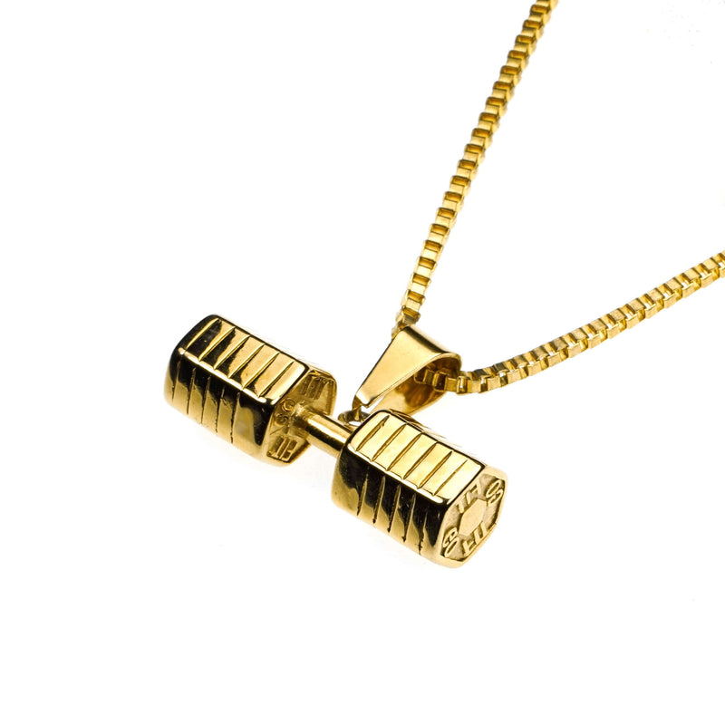 Elegant Classic Dumbbell Design Solid Gold Pendant by Jewelry Lane