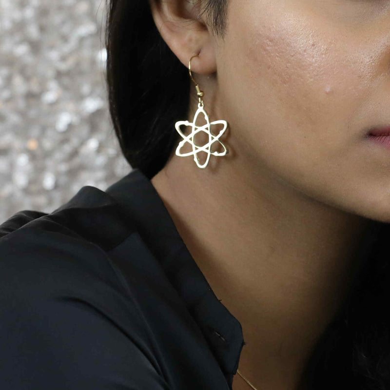 Beautiful Indian model wearing Beautiful Solid Gold Atomic Earrings by Jewelry Lane