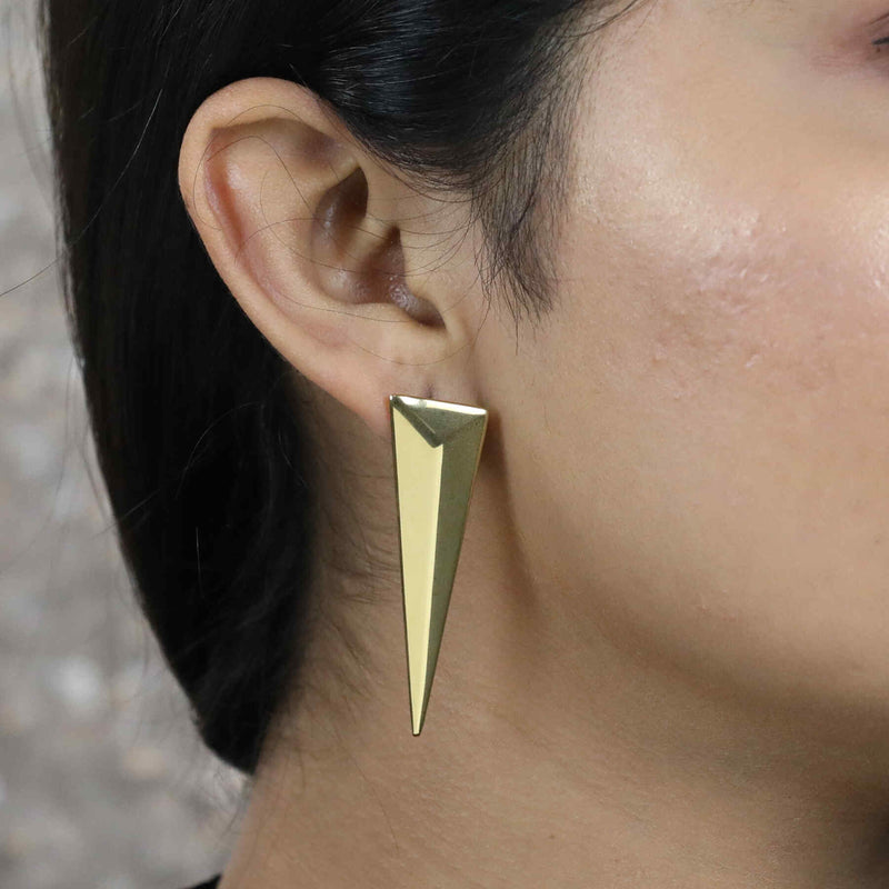 Indian model wearing Beautiful Solid Gold Geometric Pyramid Earrings by Jewelry Lane