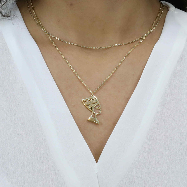 Model wearing Beautiful Egyptian Solid Gold Pendant by Jewelry Lane