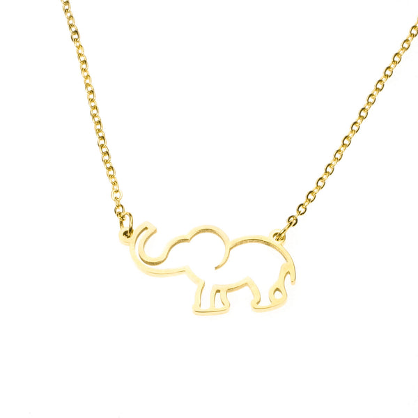Simple Charming Elephant Style Solid Gold Necklace By Jewelry Lane