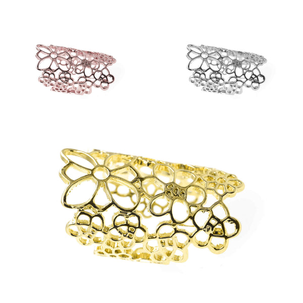 Beautiful Elongated Flower Cuff Design Solid Gold Rings By Jewelry Lane