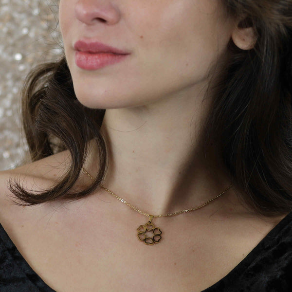 Model Wearing Beautiful Endless Love Heart Solid Gold Pendant By Jewelry Lane