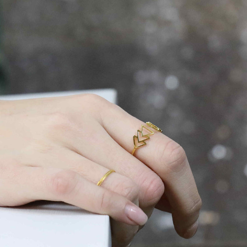 Model Wearing Elegant Beautiful Fast Forward Stacker Solid Gold Ring By Jewelry Lane