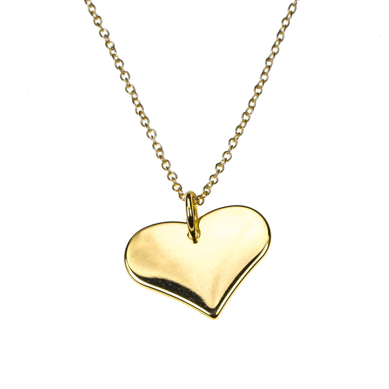 Charming Beautiful Flat Heart Design Solid Gold Pendant By Jewelry Lane