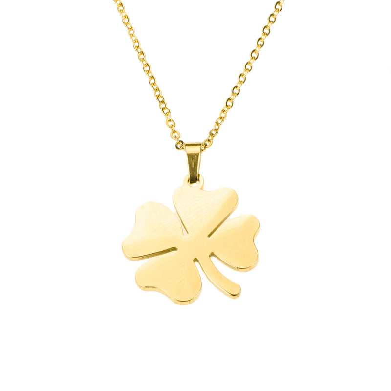 Simple Charming Four Leaf Clover Solid Gold Pendant By Jewelry Lane