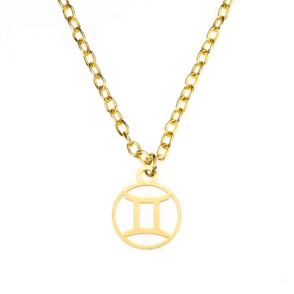 Charming Zodiac Gemini Minimalist Solid Gold Pendant By Jewelry Lane