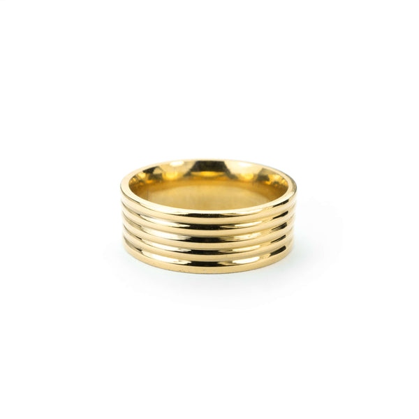 Elegance Stylish Grooved Solid Gold Ring By Jewelry Lane