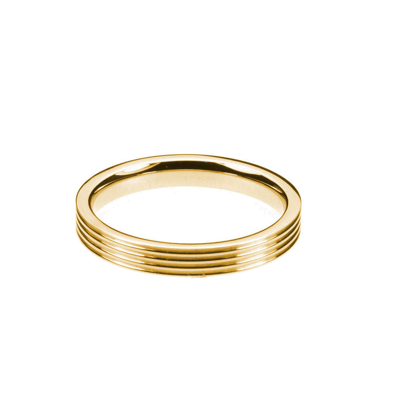 Smooth Comfortable 4 Grooved Solid Gold Band Ring By Jewelry Lane