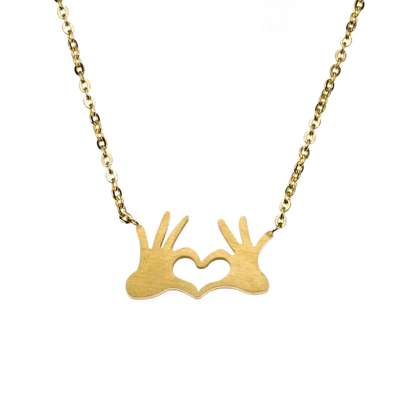 Beautiful Modern Heart In Hand Solid Gold Necklace By Jewelry Lane