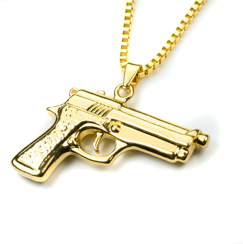 Modern Bold Handgun Style Solid Gold Necklace By Jewelry Lane