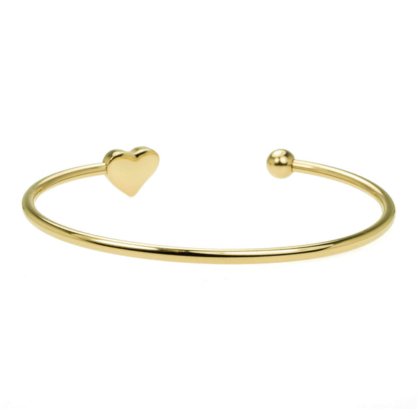 Beautiful Round Single Heart Solid Gold Cuff Bangle by Jewelry Lane