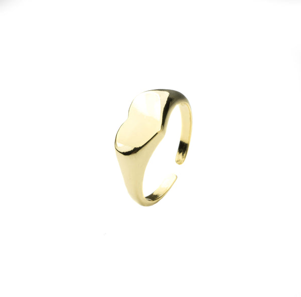 Beautiful Charming Heart Signet Solid Gold Ring By Jewelry Lane