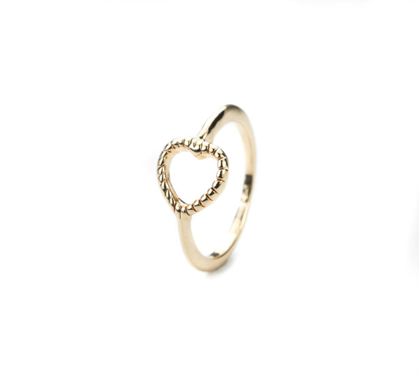 Beautiful Charming Open Heart Love Solid Gold Ring By Jewelry Lane
