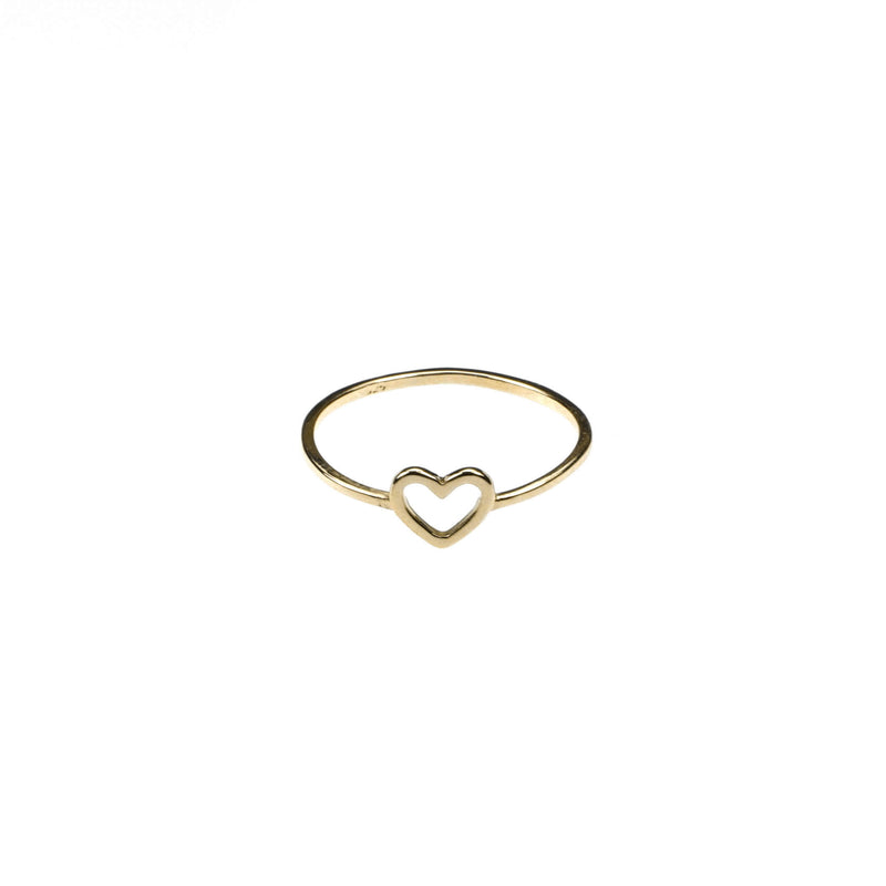 Beautiful Simple Open Heart Love Stacker Solid Gold Ring By Jewelry Lane