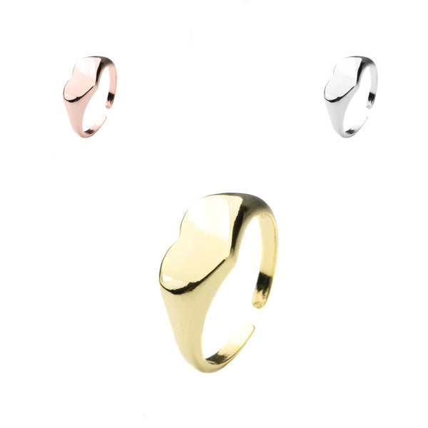Beautiful Charming Heart Signet Solid Gold Rings By Jewelry Lane