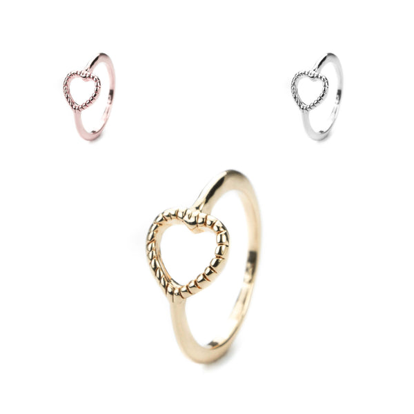 Beautiful Charming Open Heart Love Solid Gold Rings By Jewelry Lane