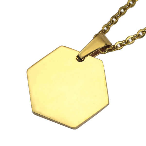 Beautiful Simple Plain Hexagon Style Solid Gold Pendant By Jewelry Lane