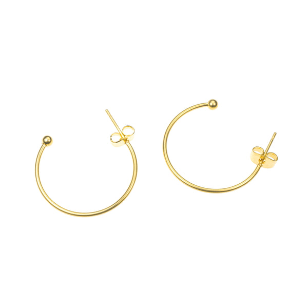 Beautiful Sleek Half Hoop Solid Gold Earrings By Jewelry Lane