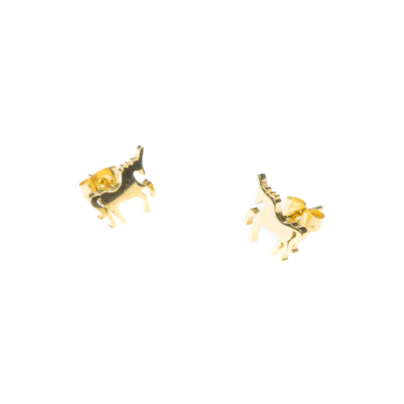 Elegant Unique Horse Stud Solid Gold Earrings By Earrings
