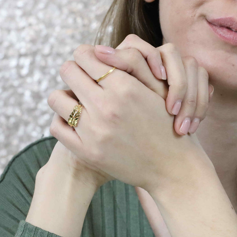 Model Wearing Beautiful Elegance Leaf Stacker Solid Gold Ring By Jewelry Ring