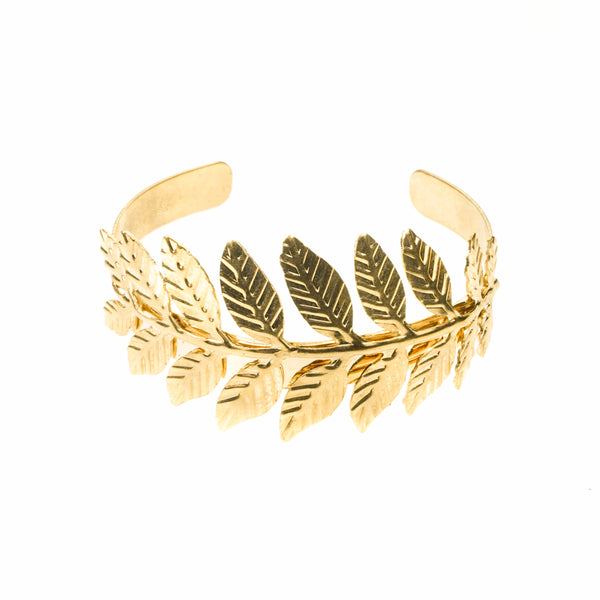 Beautiful Modern Fern Leaf Cuff Solid Gold Bangle By Jewelry Lane