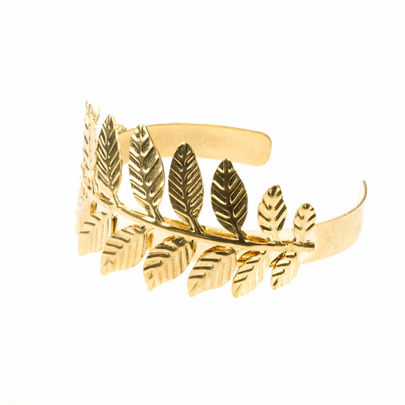Beautiful Modern Leaf Cuff Design Solid Gold Bangle By Jewelry Lane