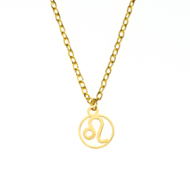 Charming Zodiac Leo Minimalist Solid Gold Pendant By Jewelry Lane