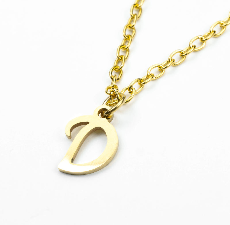 Beautiful Polished Letter D Solid Gold Pendant By Jewelry Lane