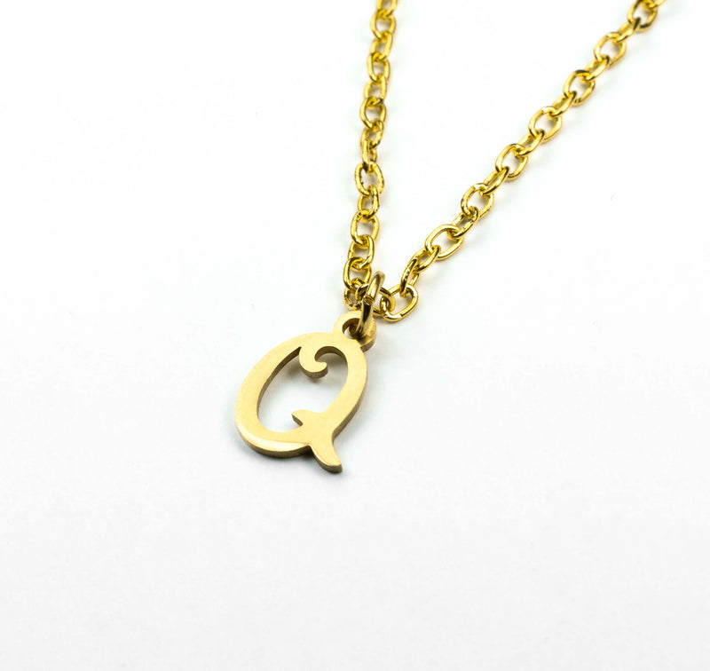 Beautiful Polished Letter Q Solid Gold Pendant By Jewelry Lane