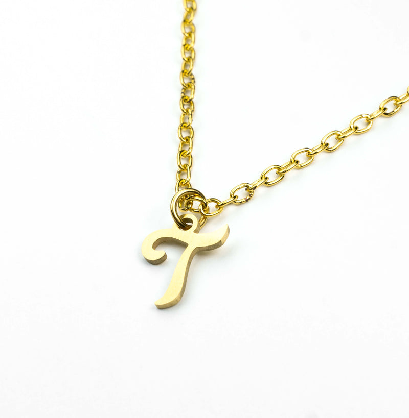Beautiful Polished Letter T Solid Gold Pendant By Jewelry Lane