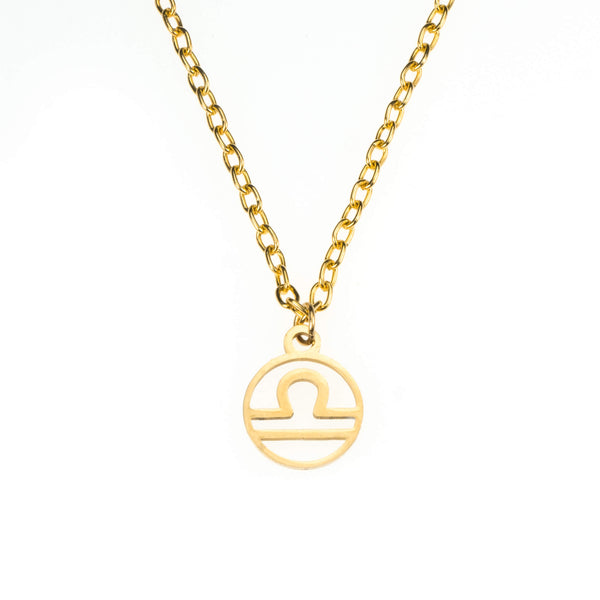 Charming Zodiac Libra Minimalist Solid Gold Pendant By Jewelry Lane