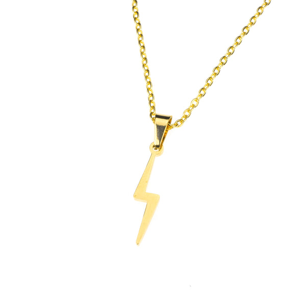 Beautiful Handcrafted Lightning Bolt Solid Gold Necklace By Jewelry Lane