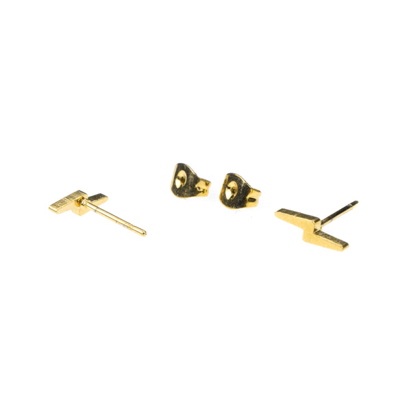 Elegant Simple lightning Stud Design Solid Gold Earrings By Jewelry Lane